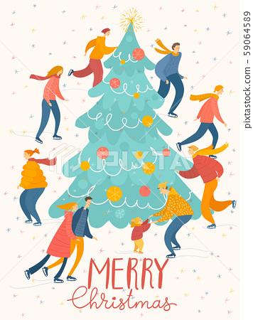 Christmas card with big Christmas tree and ice skating people. 59064589
