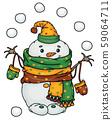 Vector  happy  snowman cartoon playing snowballs. 59064711