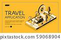 Travel application isometric web banner 59068904