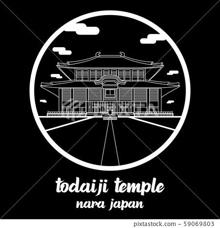 Circle icon line Todaiji Temple. vector illustration 59069803