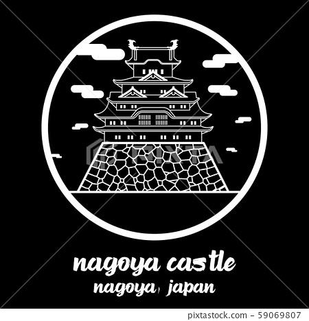 Circle icon line Nagoya castle. vector illustration 59069807