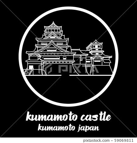Circle icon line Kumamoto castle. vector illustration 59069811