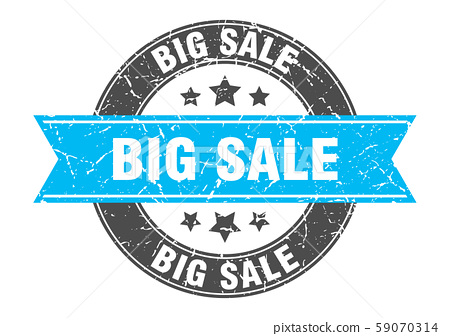 big sale round stamp with turquoise ribbon. big 59070314