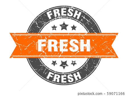 fresh round stamp with orange ribbon. fresh 59071166