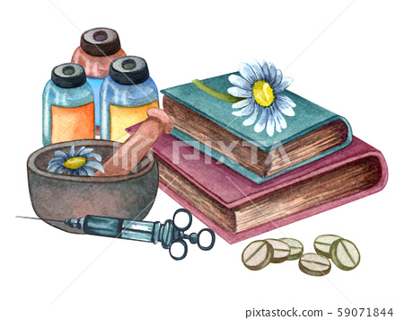 Watercolor medical composition of herbs in clay bowl, books, pills, medicine, injection. Vintage hand drawn illustration. 59071844