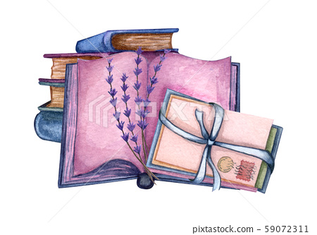 Hand Drawn watercolor illustration. a pile of old books, lavender twig, open book, love letters.  Violet colors 59072311