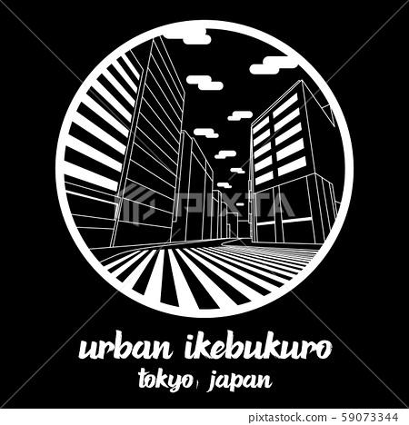 Circle icon line Urban Ikebukuro. vector illustration 59073344