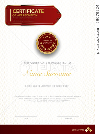 diploma certificate template red and gold color. 59079524