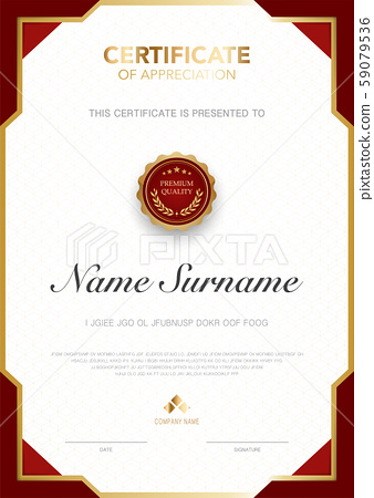 diploma certificate template red and gold color. 59079536