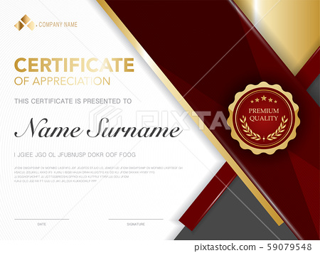 diploma certificate template red and gold color. 59079548