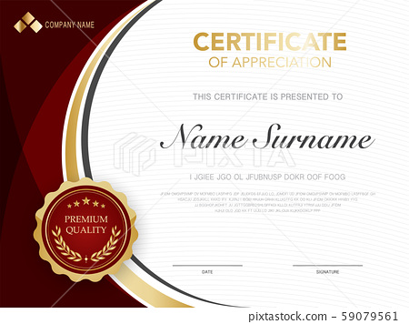 diploma certificate template red and gold color. 59079561