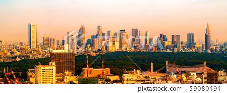 View of the Shinjuku skyline in Tokyo, Japan 59080494