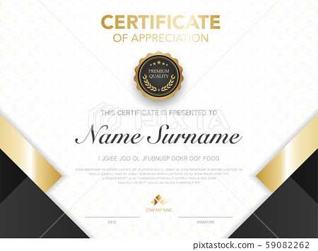 diploma certificate template black and gold color. 59082262