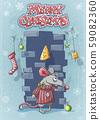 Merry christmas with a cute cartoon mouse 59082360