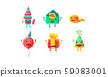 Set of humanized accessories for a birthday. Vector illustration on a white background. 59083001