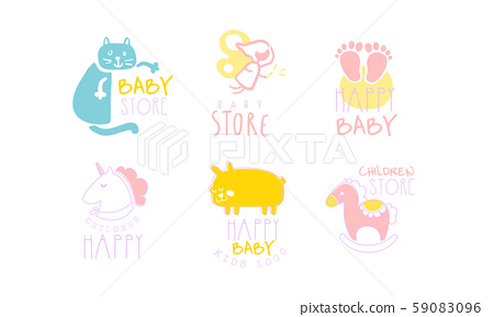 Set of contour cute logos for baby store. Vector illustration on a white background. 59083096