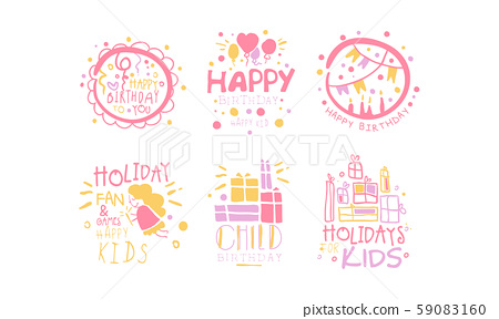 Set of contour pictures for a childrens holiday. Vector illustration. 59083160