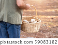 Man with wicker basket collecting mushrooms in forest. Autumn nature. 59083182