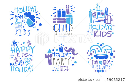Set of contour pictures and inscriptions for a childrens holiday. Vector illustration. 59083217