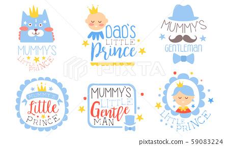 Set of blue contour pictures for parents. Vector illustration. 59083224