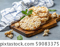 Puffed rice wholegrain bread with lemon. 59083375