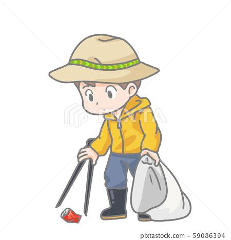 Illustration of a man picking up trash 59086394