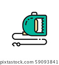 Roulette leash for pet flat color icon. 59093841