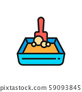 Sand tray and shovel flat color icon. 59093845