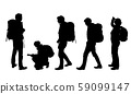 Set of four realistic silhouettes of male and 59099147