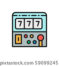 Slot machine game flat color line icon. 59099245