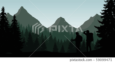 Vector illustration of a mountain landscape with a 59099471
