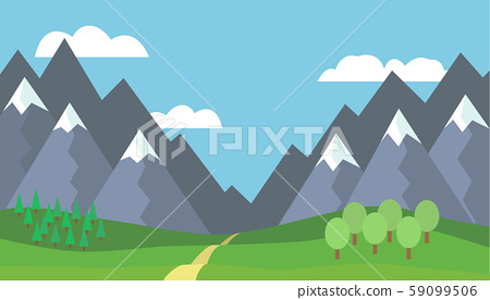 Panoramic cartoon mountain landscape with blue 59099506