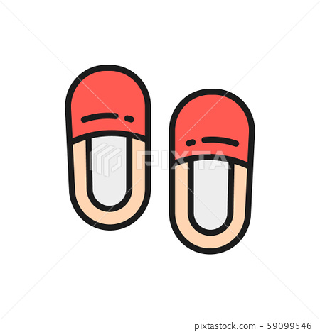 Home slippers flat color icon. Isolated on white background 59099546