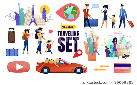 Vector Travelling Set with Happy Tourists Family 59099889