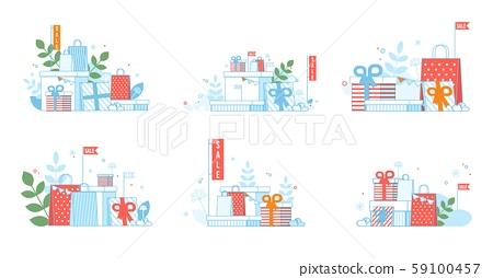 Xmas Sales Advertising Cards Set in Flat Design 59100457