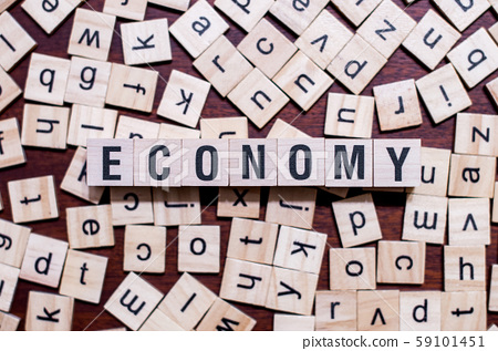 Economy word concept on cubes for articles 59101451