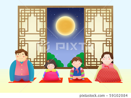 Happy family having a Korean Thanks Giving Day, Chuseok 012 59102084