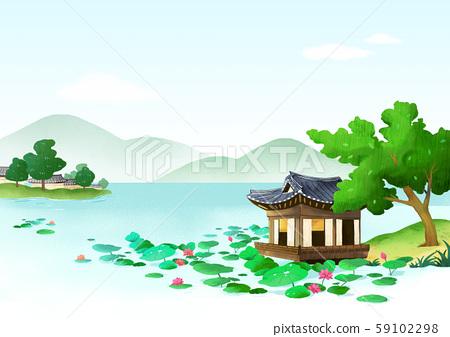 Traditional Korean-style house, scenery of hanok illustration 006 59102298