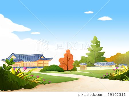 Traditional Korean-style house, scenery of hanok illustration 018 59102311