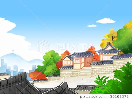 Traditional Korean-style house, scenery of hanok illustration 010 59102372