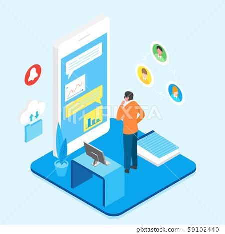 Flat isometric Smart mobile life concept illustration 019 59102440