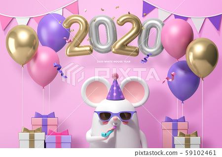 2020 happy new year, 3D Realistic character of rat 010 59102461