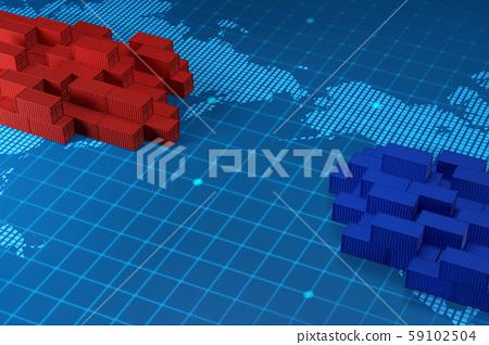 3D Render of Global trade, South Korea and Japan trade war 003 59102504
