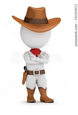 3d small people - cowboy 59104611