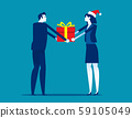 Boss giving gift box to employee. Corporate work 59105049