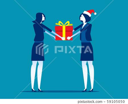 Boss giving gift box to employee. Corporate work 59105050