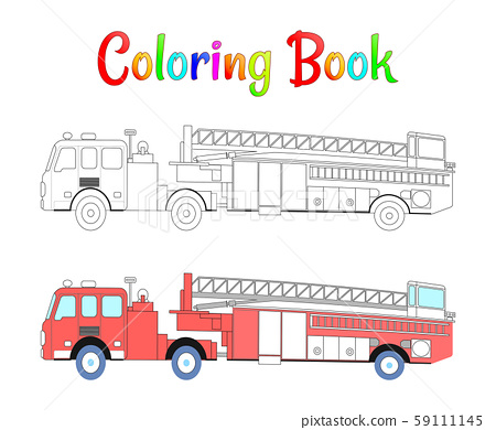 Fire truck coloring book vector. Coloring pages for kids Vector illustration eps 10. 59111145
