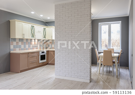 Luxury modern provence styled grey, pink and cream kitchen interior 59113136