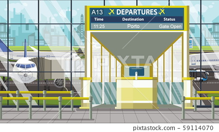 Departure board in the airport terminal with Porto caption. Travel to Portugal cartoon illustration 59114070
