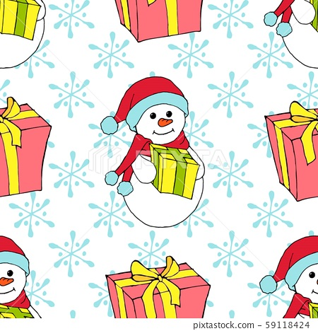 Christmas watercolor seamless pattern with Christmas toys, gifts and snowflakes. Perfect for 59118424
